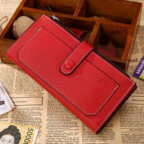 Korean creative new zipper buckle clutch bag long multi-functional PU leather wallet wholesale nihaojewelry NHBN231162's discount tags