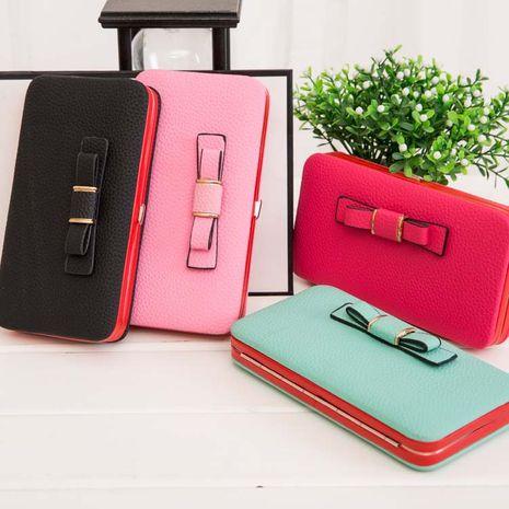 Le nouveau coréen en cuir mat noeud papillon long portefeuille embrayage sac à main sac de téléphone portable en gros nihaojewelry NHBN231163's discount tags