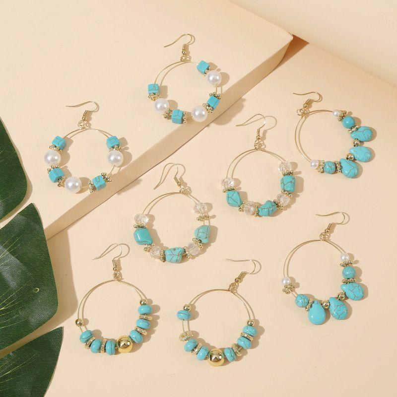 geometric round pearl stone beaded earrings trend creative crystal handmade earrings jewelry wholesale nihaojewelry NHLA231164
