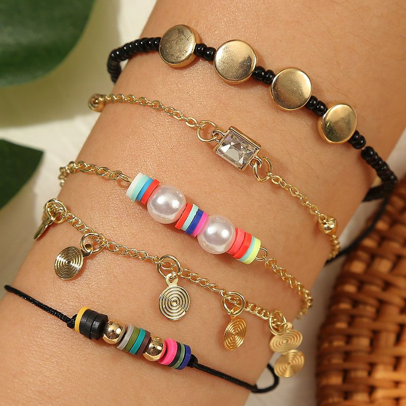 handmade soft ceramic rice bead suit bracelet creative five beaded jewelry accessories wholesale nihaojewelry NHLA231168