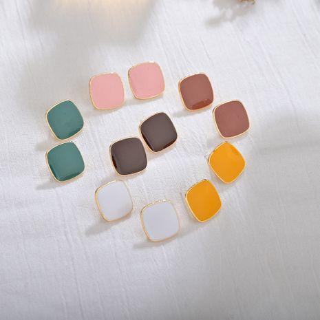 Vin rouge carré de haute qualité boucles d'oreilles de navettage nouveau S925 argent aiguille goutte d'huile boucles d'oreilles en gros nihaojewelry NHBQ231169's discount tags