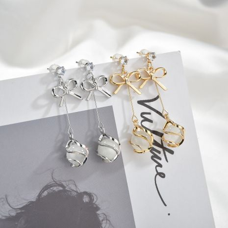 925 argent aiguille coréen arc oeil de chat boucles d'oreilles simples tendances longues boucles d'oreilles en gros nihaojewelry NHBQ231171's discount tags