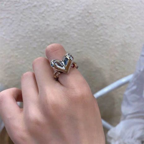 Korean beating heart peach heart love ring silver ring wholesale nihaojewelry NHYQ231176's discount tags