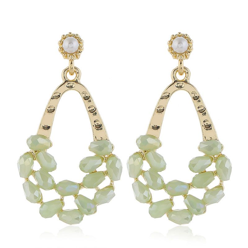 925 silver pin high quality fashion metal crystal water drop simple earrings  wholesale nihaojewelry NHSC231822