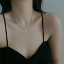 stainless steel lucky number 7 pendant golden necklace simple square clavicle chain wholesale nihaojewelry NHYQ231179