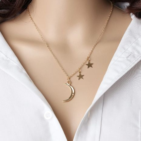 Metal Moon Star Combination Necklace Creative Retro Simple Alloy Metal Clavicle Chain wholesale nihaojewelry NHPJ231194's discount tags