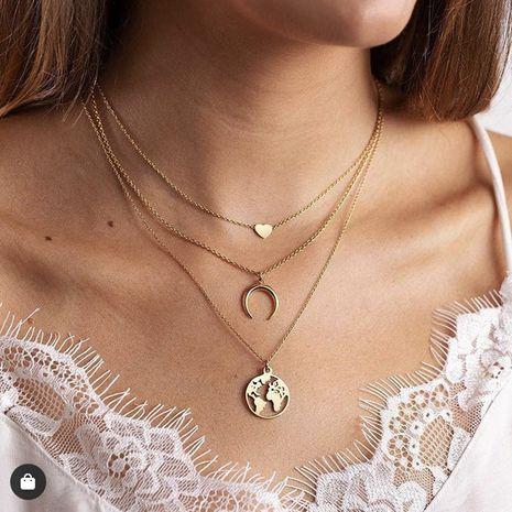 Amour Croissant Carte Pendentif Multi-couche Collier Creative Rétro Alliage En Métal Clavicule Chaîne en gros nihaojewelry NHPJ231195's discount tags
