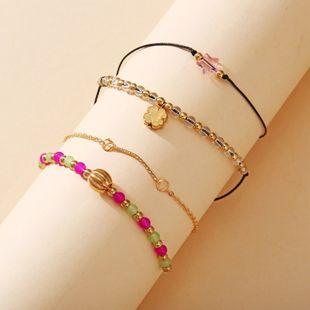 beaded four-leaf clover bracelet set of new creative simple bracelet wholesale nihaojewelry NHPJ231196's discount tags