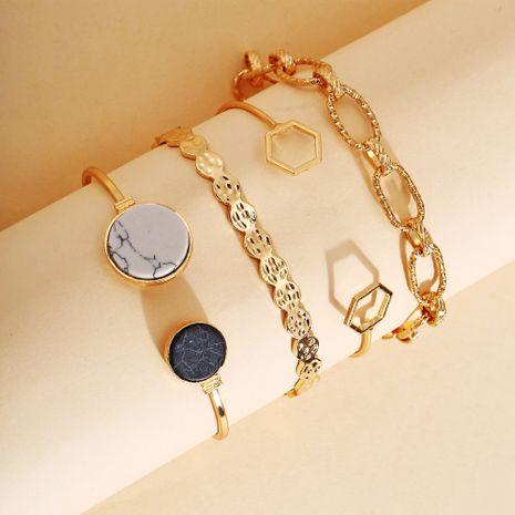 bijoux de mode créatif rétro marbre géométrique chaîne bracelet ensemble 4 pièces ensemble en gros nihaojewelry NHPJ231199's discount tags