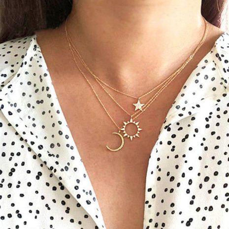 bijoux de mode nouvelle créative diamant creux soleil étoile lune pendentif collier en gros nihaojewelry NHPJ231200's discount tags