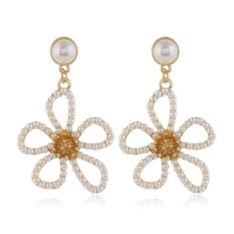 925 Silver Post High Quality Fashion Metal Pearl Simple Bauhinia Stud Earrings wholesale nihaojewelry NHSC231823's discount tags