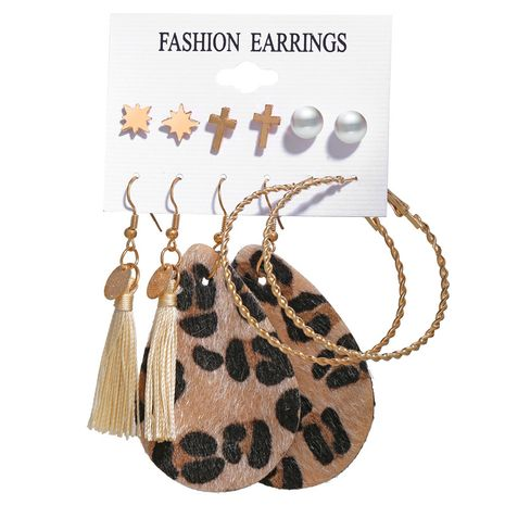 bijoux de mode nouvelles boucles d'oreilles gland ensemble six pièces créatives boucles d'oreilles léopard en gros nihaojewelry NHPJ231203's discount tags