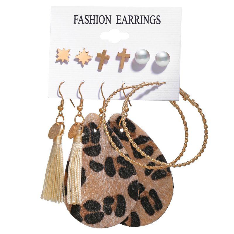 fashion jewelry new tassel earrings set six-piece creative leopard earrings wholesale nihaojewelry NHPJ231203