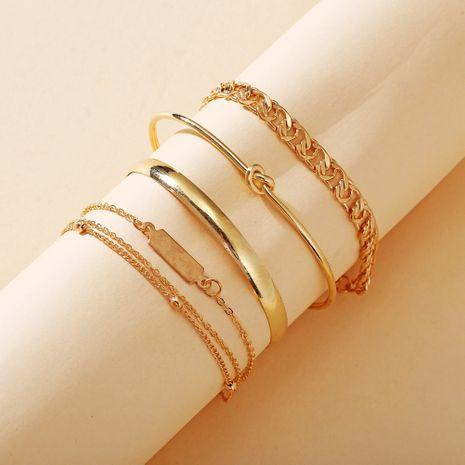 nouveau bijoux créatif simple chaîne anneau bracelet ensemble 5 pièces ensemble en gros nihaojewelry NHPJ231204's discount tags
