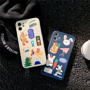 korean style cartoon rabbit bear mobile phone case for iphone11 Pro /XS/XR /7p/p40pro wholesale nihaojewelry NHFI231232's discount tags