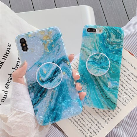 Mint green oil painting phone case iPhone xs max 7plus HuaWei bracket protective shell wholesale nihaojewelry NHFI231240's discount tags