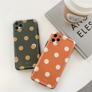 Matcha green wave point phonecases suitablefor  iphone11Pro/xsmax /7/8plus/XR orange wave point wholesale nihaojewelry NHFI231243's discount tags