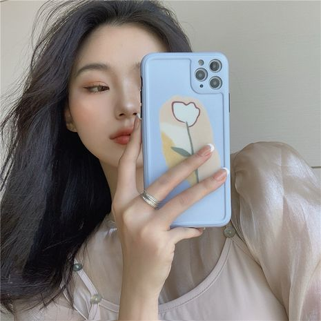 Light blue tulip mobile phone case for iphone XS/XR/iPhone7/8plus/mate30 wholesale nihaojewelry NHFI231246's discount tags