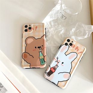 drinking Bear phone shell for iphone X/iPhone8plus/huawei p40 all-inclusive soft shell wholesale nihaojewelry NHFI231254's discount tags