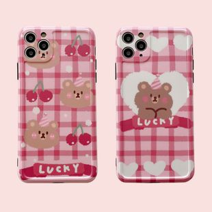 Cute Cherry Bear mobile phone case for iPhone7 /8plus/XR/11pro anti-fall protective cover wholesale nihaojewelry NHFI231256's discount tags