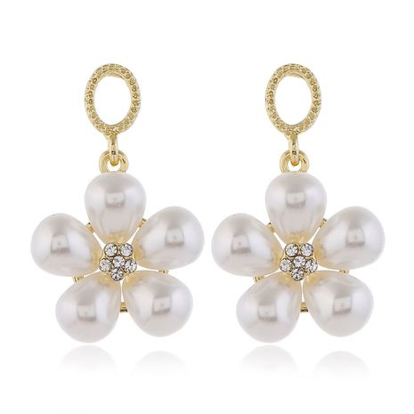 925 silver pin high quality fashion metal pearl flower simple earrings wholesale nihaojewelry NHSC231821's discount tags