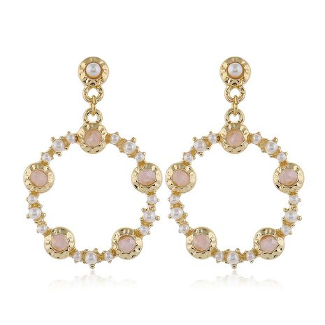 925 silver pin high quality fashion metal crystal pearl simple circle earrings  wholesale nihaojewelry NHSC231826's discount tags