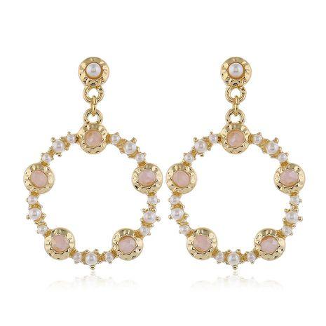 925 pin de plata de alta calidad de metal de cristal de perlas simples pendientes de círculo al por mayor nihaojewelry NHSC231826's discount tags