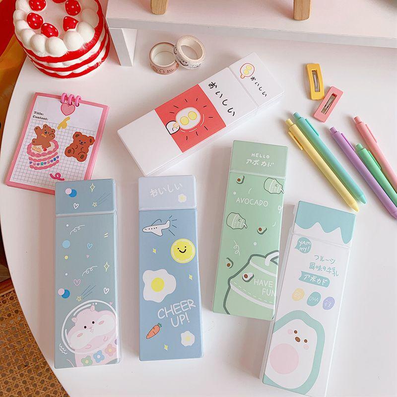 scrub pen box creative cute stationery box simple elementary plastic pencil bag wholesale nihaojewelry NHZE231343