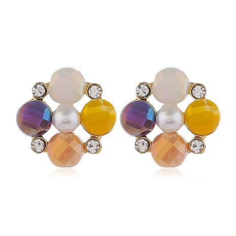 925 broche en argent de haute qualité mode métal simple flash diamant boucles d'oreilles perles en gros nihaojewelry NHSC231820's discount tags