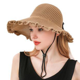 Chapeau coréen crème solaire chapeau de soleil ombre extérieure couleur unie grand avant-toit feuille de lotus loisirs vide chapeau haut de forme en gros nihaojewelry NHXO231382's discount tags
