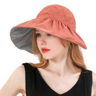 Double face portant des dames d'été chapeau de soleil décontracté coréen solide couleur pliable treillis grand avant-toit vide chapeau haut de forme en gros nihaojewelry NHXO231385's discount tags