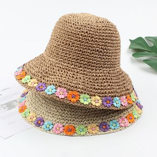 Straw hat summer color flower foldable sun hat beach sunscreen breathable hat wholesale nihaojewelry NHXO231386's discount tags