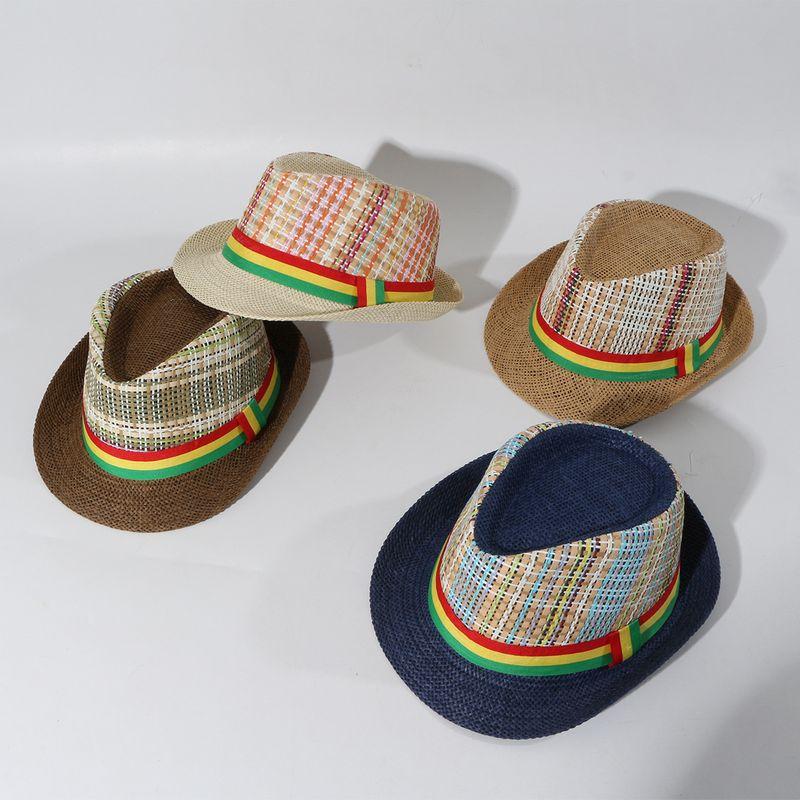 Childrens hat summer sun  jazz top hat summer straw hat fashion womens hat wholesale nihaojewelry NHTQ231389