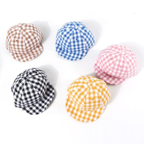 Children's hat summer sunscreen plaid cap baby thin section soft-brimmed hat Korean baseball cap wholesale nihaojewelry NHTQ231406's discount tags