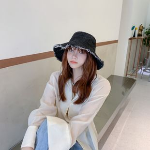 Fisherman hat cowgirl raw edge sun hat solid color big sunscreen hat Korean hat sun wholesale nihaojewelry NHTQ231408's discount tags