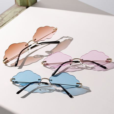 borderless cloud sunglasses candy summer color concave shape new sunglasses wholesale nihaojewelry NHXU231418's discount tags
