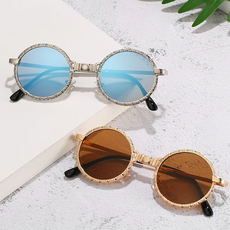New steampunk sunglasses trend retro metal round frame sunglasses wholesale nihaojewelry NHBA231440's discount tags