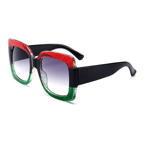 new sunglasses three-color large frame plastic trend square color crystal sunglasses wholesale nihaojewelry NHBA231450's discount tags