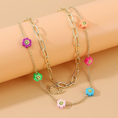 Korean simple sweet double flower necklace wholesale nihaojewelry NHPS231461's discount tags