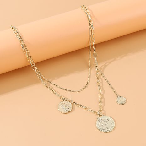 rétro créative tête romaine double collier en gros nihaojewelry NHPS231462's discount tags