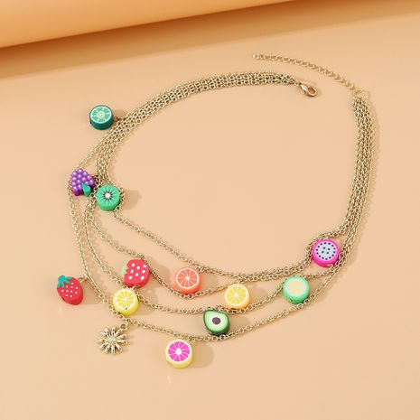 Korean simple and versatile fashion fruit colorful multi-layer necklace wholesale nihaojewelry NHPS231463's discount tags
