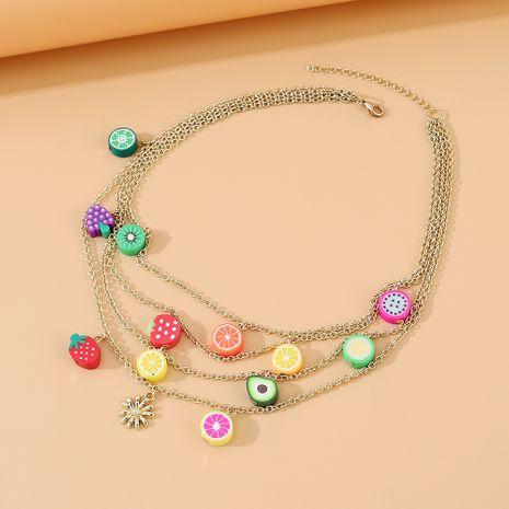 Coréen simple et polyvalent fruits de mode coloré collier multicouche en gros nihaojewelry NHPS231463's discount tags