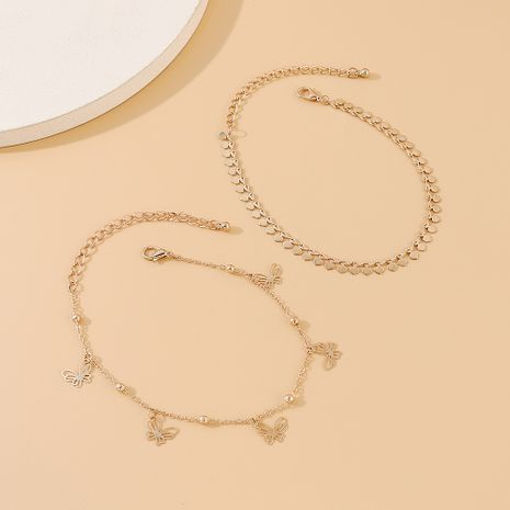 hot sale new fashion creative little butterfly double anklet wholesale nihaojewelry NHPS231466's discount tags