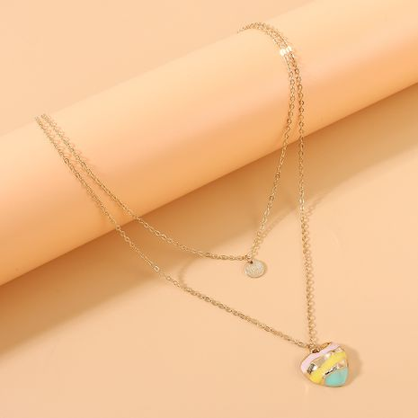 créative mode coeur peinture huile double couche collier en gros nihaojewelry NHPS231472's discount tags