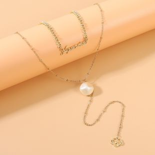 new fashion retro fashion creative classic letter pearl necklace wholesale nihaojewelry NHPS231475's discount tags