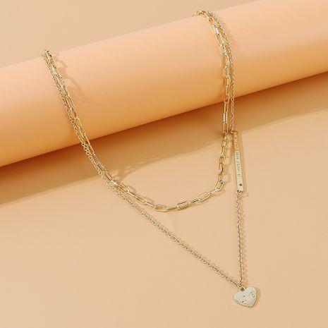 Mode coréenne créative coeur de pêche double collier en gros nihaojewelry NHPS231480's discount tags
