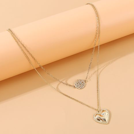Mode coréenne créative coeur de pêche double collier en gros nihaojewelry NHPS231482's discount tags