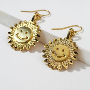 exaggerated earrings new bohemian earrings ladies sun flower smiley face earrings wholesale nihaojewelry NHOT231485's discount tags