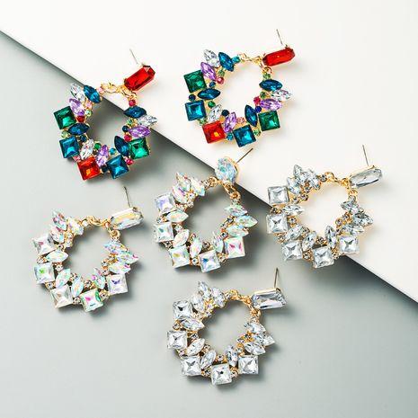 exagéré géométrique alliage incrusté strass boucles d'oreilles super flash plein diamant mode oreille bijoux en gros nihaojewelry NHLN231486's discount tags