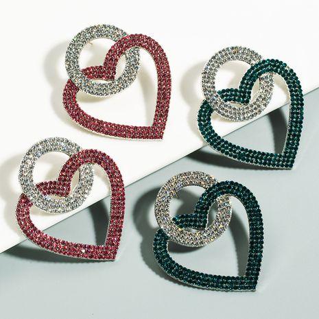 alliage de couleur contrastante en forme de coeur incrusté de boucles d'oreilles en strass féminité exagérée boucles d'oreilles en diamant super flash en gros nihaojewelry NHLN231488's discount tags